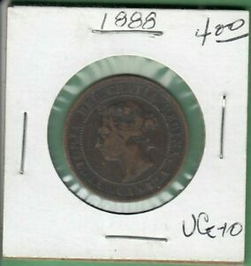 1888 CANADA LARGE ONE CENT COIN   VG 10