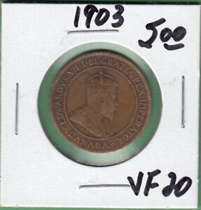 1903 CANADA LARGE ONE CENT COIN   VF 20