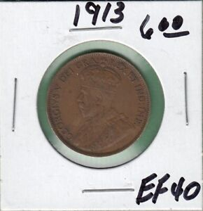 1913 CANADA LARGE ONE CENT COIN   EF 40