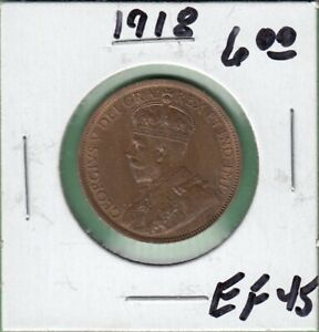1918 CANADA LARGE ONE CENT COIN   EF 45