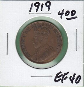 1919 CANADA LARGE ONE CENT COIN   EF 40