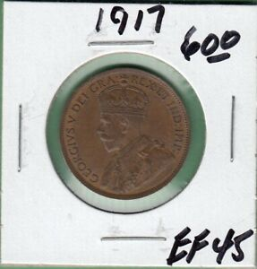 1917 CANADA LARGE ONE CENT COIN   EF 45