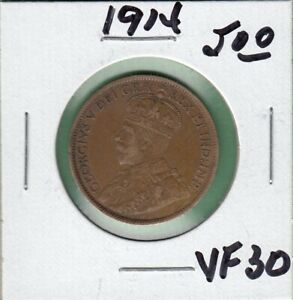 1914 CANADA LARGE ONE CENT COIN   VF 30