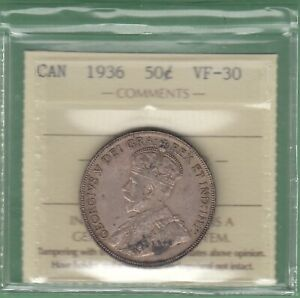 1936 CANADIAN 50 CENTS SILVER COIN   ICCS GRADED VF 30