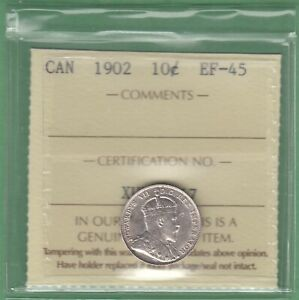 1902 CANADA 10 CENTS SILVER COIN   ICCS GRADED EF 45