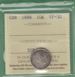 1888 CANADA 10 CENTS SILVER COIN   ICCS GRADED VF 30
