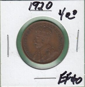 1920 CANADA LARGE ONE CENT COIN   EF 40