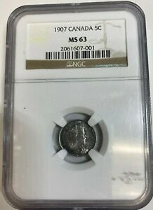 1907 CANADIAN 5 CENTS SILVER COIN   NARROW DATE   NGC GRADED MS 63