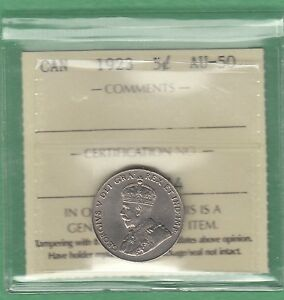1923 CANADIAN 5 CENTS COIN   ICCS GRADED AU 50