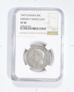 VF30 1947 CANADA 50 CENTS   CURVED 7 MAPLE LEAF   GRADED NGC  1772