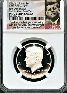 2021 S SILVER.999  KENNEDY 50C FDOI FROM 7 COIN SILVER SET NGC PF70 U.C.