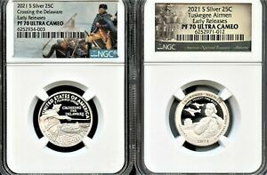 2021 S SILVER.999 2PC QUARTER SET EARLY RELEASES NGC PF70 UC  PARK     IN STOCK