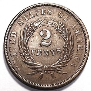 1864 TWO CENTS PEICE MAJOR ERROR 180 DEGREE ROTATED DIES WEAK LETTERS  R9 54 616