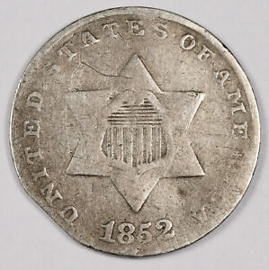 1852 THREE CENT SILVER.  ERROR.  MINT MADE CLIPPED PLANCHET.  VG.  159905