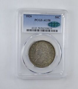AU58 1826 CAC CAPPED BUST HALF DOLLAR   GRADED PCGS  1964