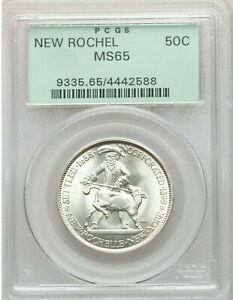 1938 NEW ROCHELLE NY 50C PCGS MS 65 OLD GREEN HOLDER PQ LUSTROUS GEM
