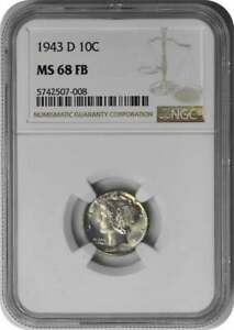Click now to see the BUY IT NOW Price! 1943 D MERCURY SILVER DIME MS68FB NGC