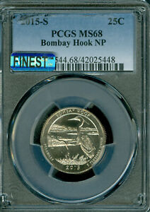 Click now to see the BUY IT NOW Price! 2015 S BOMBAY HOOK QUARTER PCGS MS68 PQ MAC FINEST & SPOTLESS POP 2