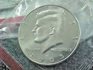 2005 D   KENNEDY HALF DOLLARS FROM MINT SETS BU  IN CELLO