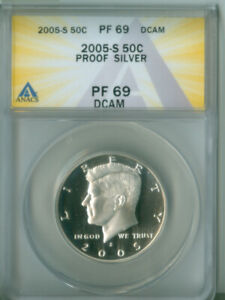 2005 S SILVER PROOF KENNEDY HALF DOLLAR ANACS PF 69DCAM FREE S/H  2126846