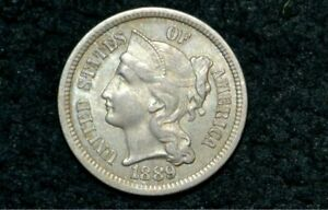 1889 THREE CENT NICKEL 3C    UNC DETAILS        ONLY 21 561 MINTED