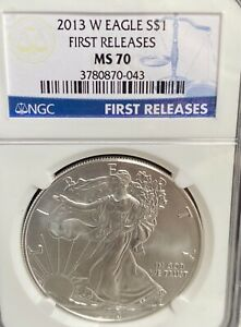 2013 W BURNISHED SILVER EAGLE NGC MS70 FIRST RELEASES BLUE LABEL BETTER DATE