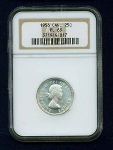 CANADA ELIZABETH II 1956 25 CENTS SILVER COIN PROOF LIKE NGC CERTIFIED PL 65