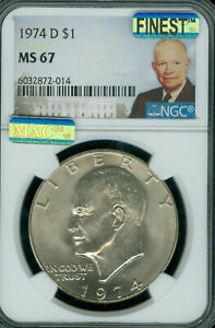 Click now to see the BUY IT NOW Price! 1974 D EISENHOWER DOLLAR NGC MS67 PQ MAC FINEST GRADE MAC SPOTLESS