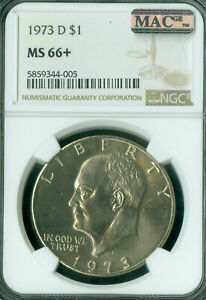 Click now to see the BUY IT NOW Price! 1973 D EISENHOWER DOLLAR NGC MS66   PLUS MAC SPOTLESS ONLY 4 HIGHER  .