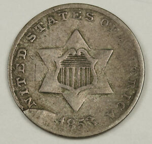 1853 THREE CENT SILVER. CLAMSHELL TYPE MINT ERROR PLANCHET FLAW. 132089