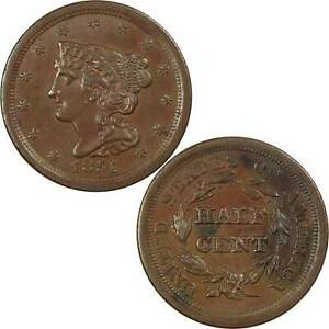 1851 BRAIDED HAIR HALF CENT AU ABOUT UNCIRCULATED COPPER PENNY 1/2C US TYPE COIN