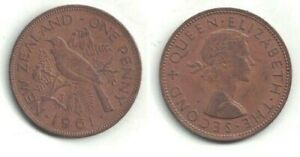 1961 NEW ZEALAND ONE PENNY COIN IN EXTRA FINE CONDITION