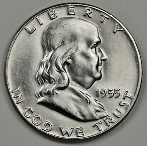1955 P FRANKLIN HALF. 100  FULLY SEPARATED HORIZONTAL BELL LINES. INVENTORY G