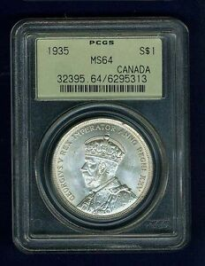 CANADA GEORGE V  1935 1 DOLLAR SILVER COIN UNCIRCULATED CERTIFIED PCGS MS64