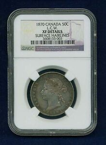 CANADA VICTORIA  1870 L.C.W.  50 CENTS SILVER COIN CERTIFIED NGC