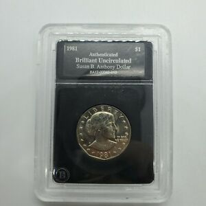 1981 D SUSAN B ANTHONY AUTHENTICATED BRILLIANT UNCIRCULATED ONE DOLLAR COIN 6