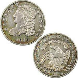 1834 LARGE 4 CAPPED BUST DIME XF EF LY FINE DETAILS 89.24  SILVER 10C