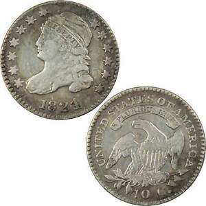 1824/2 FLAT TOP CAPPED BUST DIME VG GOOD DETAILS 89.24  SILVER 10C US COIN