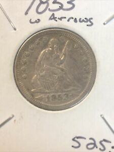 1853 SEATED LIBERTY QUARTER ARROWS AND RAYS.  NICE