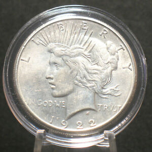 1922 S U.S. SILVER PEACE DOLLAR $1 UNCIRCULATED DETAILS 90  SILVER