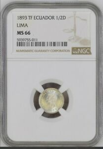 Click now to see the BUY IT NOW Price!  TOP POP 1893 LIMA ECUADOR 1/2 DECIMO SILVER COIN NGC MS 66  WOW  WHITE