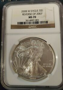 2008 W SILVER EAGLE REVERSE OF 2007 NGC MS70 BURNISHED ONLY ERROR IN SERIES 001