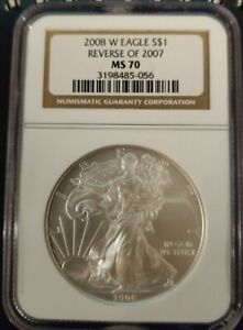 2008 W SILVER EAGLE REVERSE OF 2007 NGC MS70 BURNISHED ONLY ERROR IN SERIES056