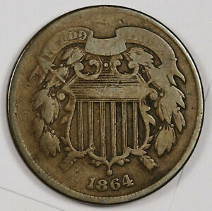 1864 2 CENT PIECE.  ERROR.  RE PUNCHED DATE.  VG.  163222