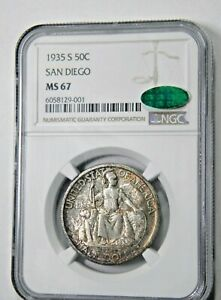 Click now to see the BUY IT NOW Price! 1935 S SAN DIEGO 50C NGC MS 67 CAC FANTASTIC MUSEUM PIECE