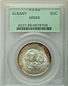 1936 ALBANY NY 50C PCGS MS 65 OLD GREEN HOLDER SUPERB GEM COIN