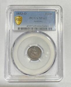 Click now to see the BUY IT NOW Price! HALF DIMES LIBERTY SEATED 1853 O PCGS MS 62   ARROWS
