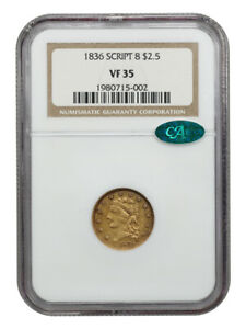 1836 CLASSIC HEAD $2.50 GOLD NGC VF/XF 35  CHOICE EARLY GOLD COIN CAC APPROVED