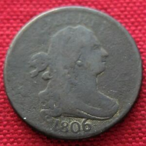 DIE ROTATION ERROR 1806 LARGE 6 USA 1/2 CENT COIN CORROSION CIRCULATED LOT517