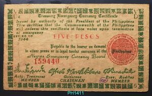 PHILIPPINES 5 PESOS 1944 NEGROS EMERGENCY CURRENCY BOARD CIRCULATED WWII